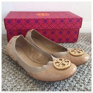 Tory Burch Camilla Pink Tan Caroline Leather Flats